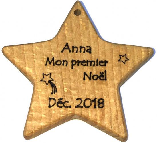 Etoile de Noël en bois massif, hêtre massif, gravure personnalisée