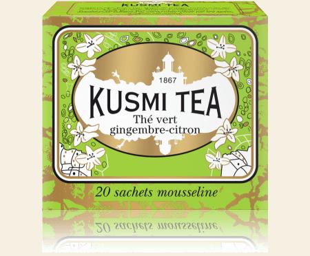 Gingembre-Citron, thé vert, boîte de 20 sachets mousseline