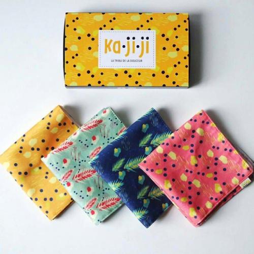 Pack de 3 mouchoirs en tissu BIO imprimé - jaune rose vert