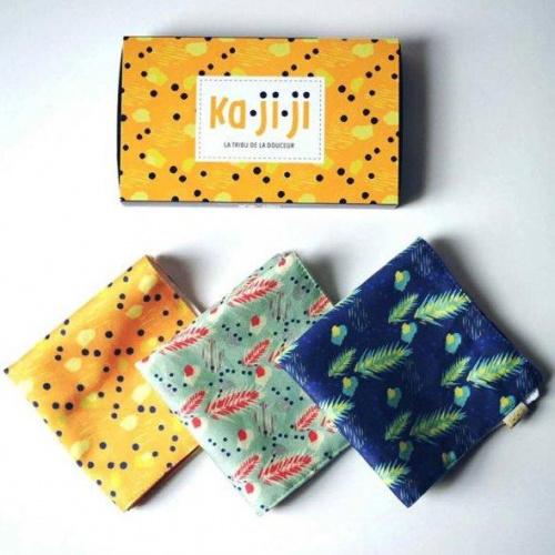 Pack de 3 mouchoirs en tissu BIO imprimé - jaune vert bleu