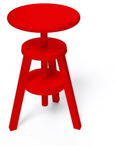 Tabouret à vis rouge - abc meubles