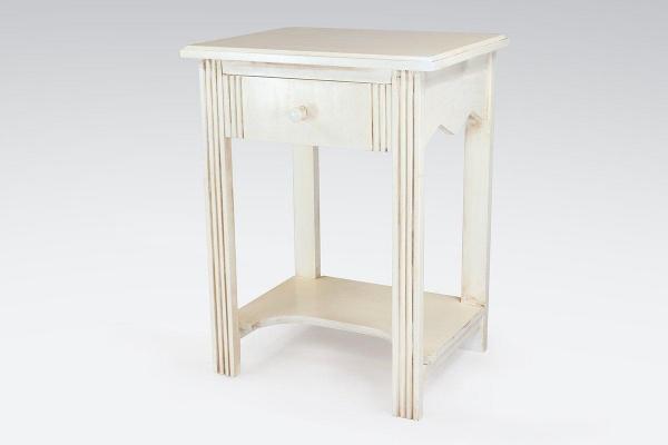 Table basse bois + 1 tiroir blanc antique - abc meubles