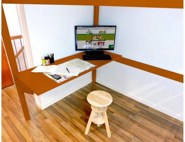 Bureau tablette chocolat largeur 160 - abc meubles
