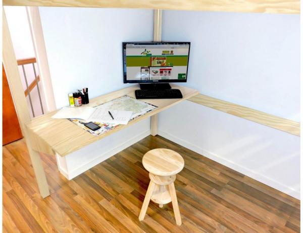 Bureau tablette largeur 140 vernis naturel - abc meubles