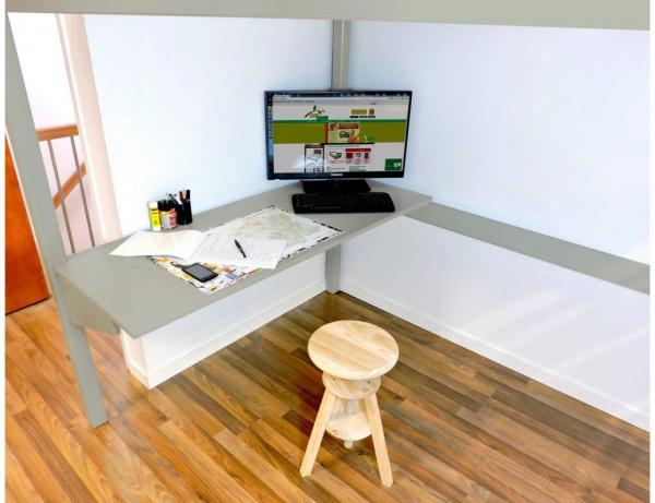 Bureau tablette gris largeur 90 - abc meubles