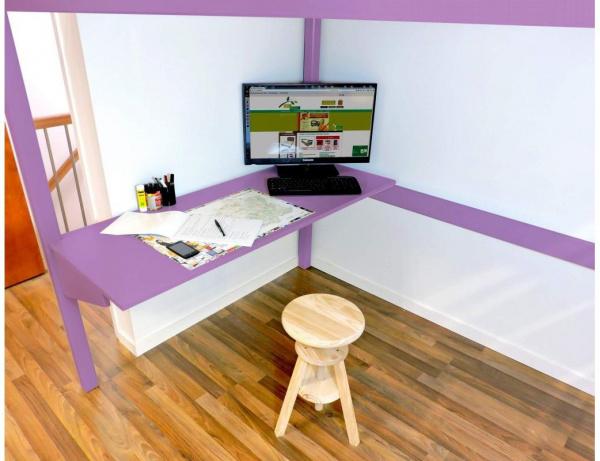 Bureau tablette largeur 90 lilas - abc meubles