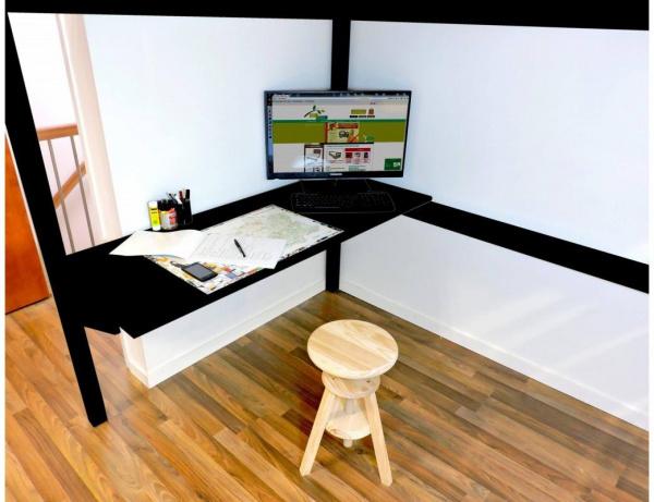 Bureau tablette noir largeur 90 - abc meubles