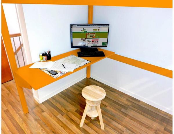 Bureau tablette orange largeur 90 - abc meubles
