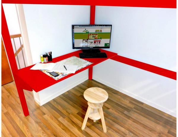 Bureau tablette rouge largeur 90 - abc meubles