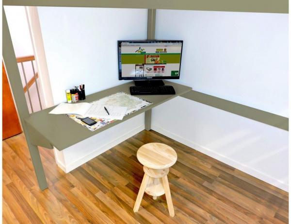 Bureau tablette taupe largeur 90 - abc meubles