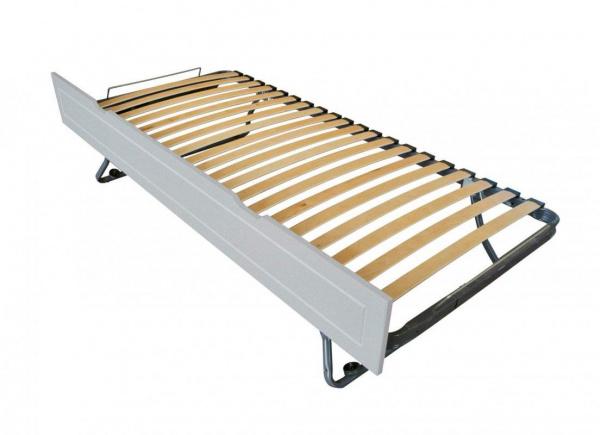 Tiroir lit sommier relevable pin gris aluminium 90x190 - abc meubles