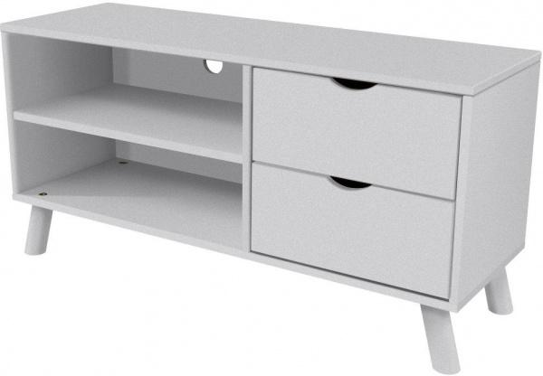 Meuble tv scandinave viking bois gris aluminium - abc meubles