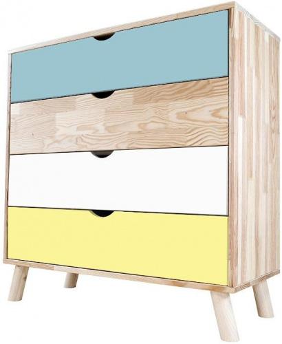 Commode viking scandinave bleu pastel blanc et jaune bleu pastel, blanc, jaune - abc meubles