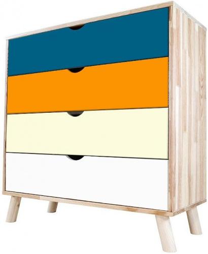 Commode viking  scandinave bleu pétrole orange ivoire et blanc bleu pétrole, orange, ivoire, blanc - abc meubles