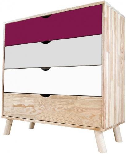 Commode viking scandinave bois prune, gris souris, blanc - abc meubles