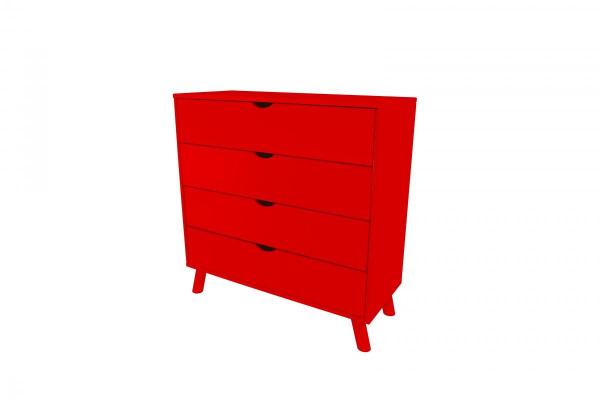Commode viking scandinave bois rouge - abc meubles