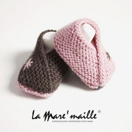 Chaussons bébé maille laine rose et taupe