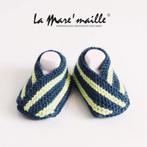 Chaussons bébé coton bleu et vert
