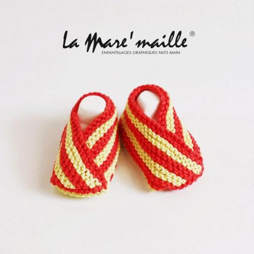 Chaussons bébé coton rouge et jaune