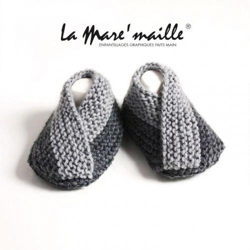 Chaussons bébé maille laine bicolores gris