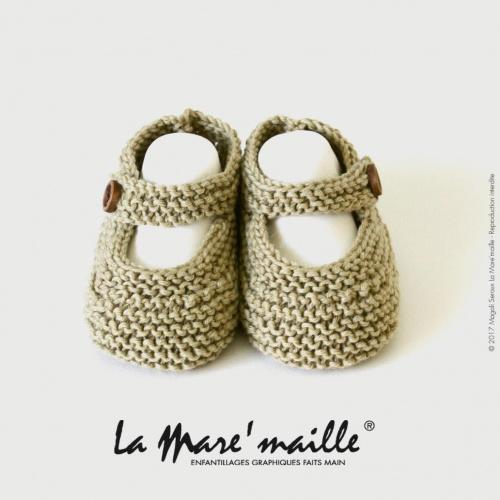 Chaussons bébé coton bio unis couleur amande