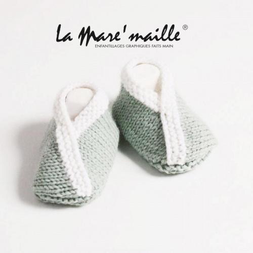Chaussons bébé maille laine vert clair et blanc