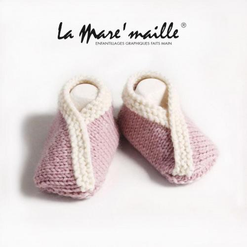 Chaussons bébé maille laine rose et beige