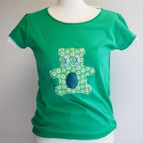 Tee-shirt femme vert motif appliqué Dodu n°9 - Elara