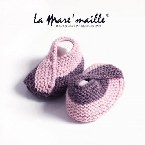 Chaussons bébé maille laine bicolores rose pâle
