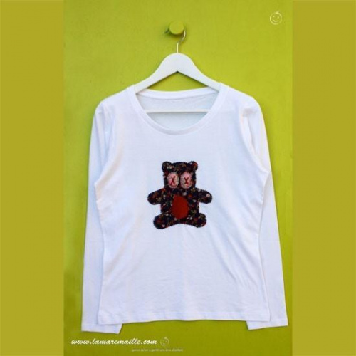 Tee-shirt femme blanc motif appliqué ours Dodu n°59
