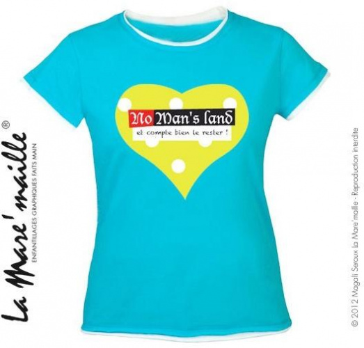 Tee-shirt femme bleu coeur message No man's land tailles M-L soldées