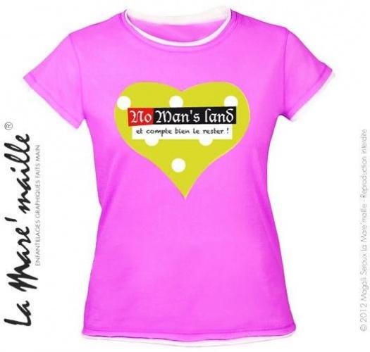 Tee-shirt femme rose coeur message No man's land tailles S-M soldées