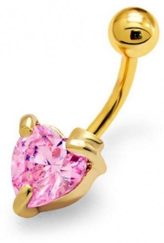 Mon-bijou - H29705 - Jolie piercing coeur en acier inoxydable doré