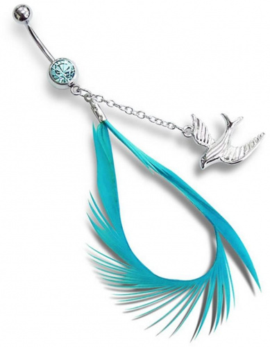 Mon-bijou - H12873 - Jolie piercing plume en acier inoxydable