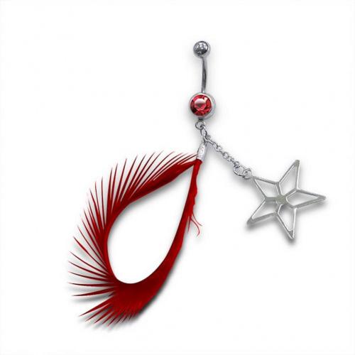 Mon-bijou - H12872 - Jolie piercing plume en acier inoxydable
