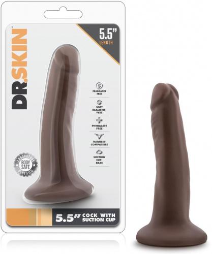 Gode Anal Avec Ventouse Chocolat DR Skin - 14,5 cm