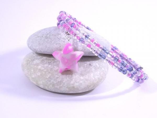Bracelet Origami Tornade Etoile et Perles violet rose avec bisous