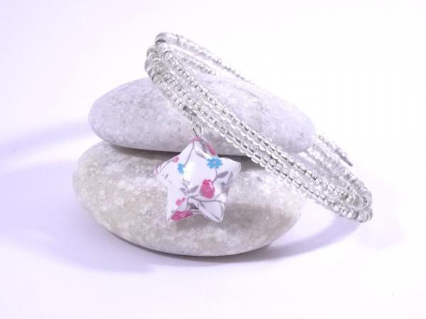 Bracelet Origami Tornade Etoile et Perles argent avec fleurs roses