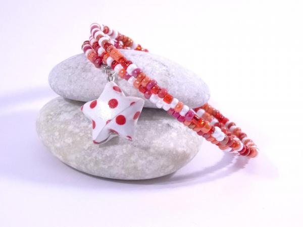 Bracelet Origami Tornade Etoile et Perles camaïeu rouge avec pois