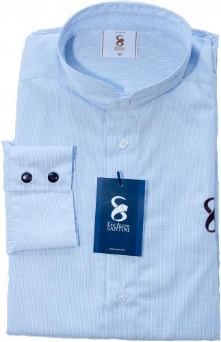 chemise bleue à petits carreaux