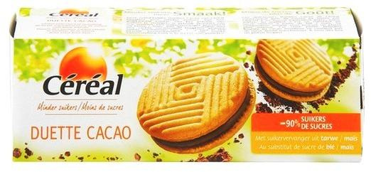 Cereal biscuit duette cacao au maltitol 150 gr