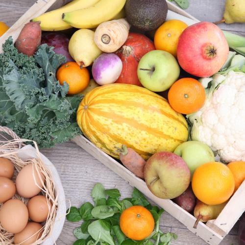 Grand mélange de légumes & fruits (+12 oeufs bio)