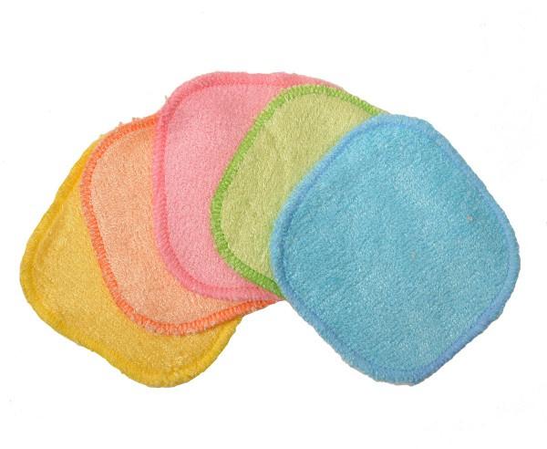 5 carrés bébé lavables COULEUR