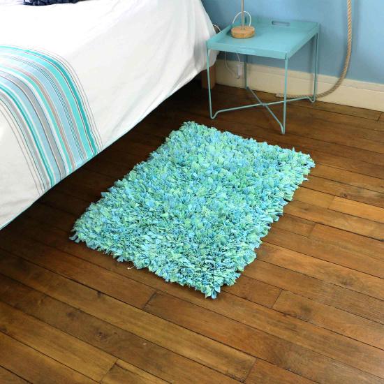 Tapis en tissus recyclés – Petit Camaieu (50×80)