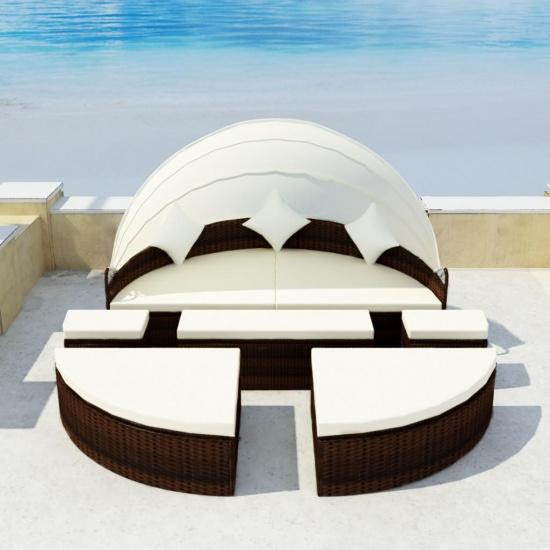 Salon de jardin/bain de soleil noir 2 en 1 en polyrotin avec toit amovible