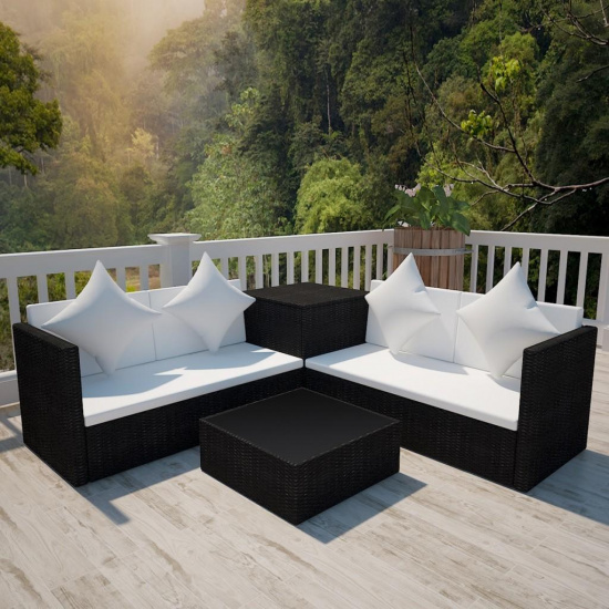 Salon de jardin en polyrotin marron avec coffre de rangement