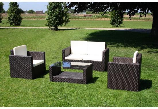 Salon de jardin Droit Lounge en résine tressée