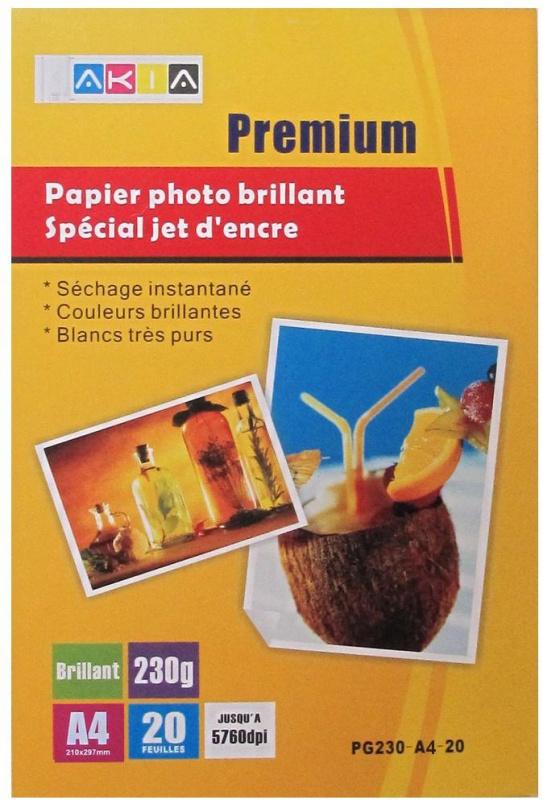 Papier photo brillant - A4 - 230 g - 20 feuilles