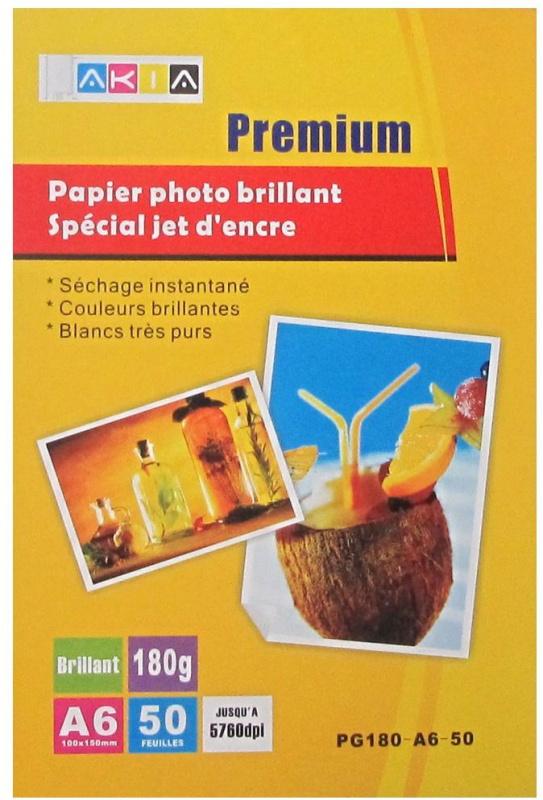 Papier photo brillant - A6 - 180 g - 50 feuilles